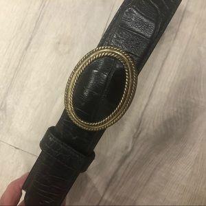 Vintage Liz Claiborne Black Leather Croc Belt M